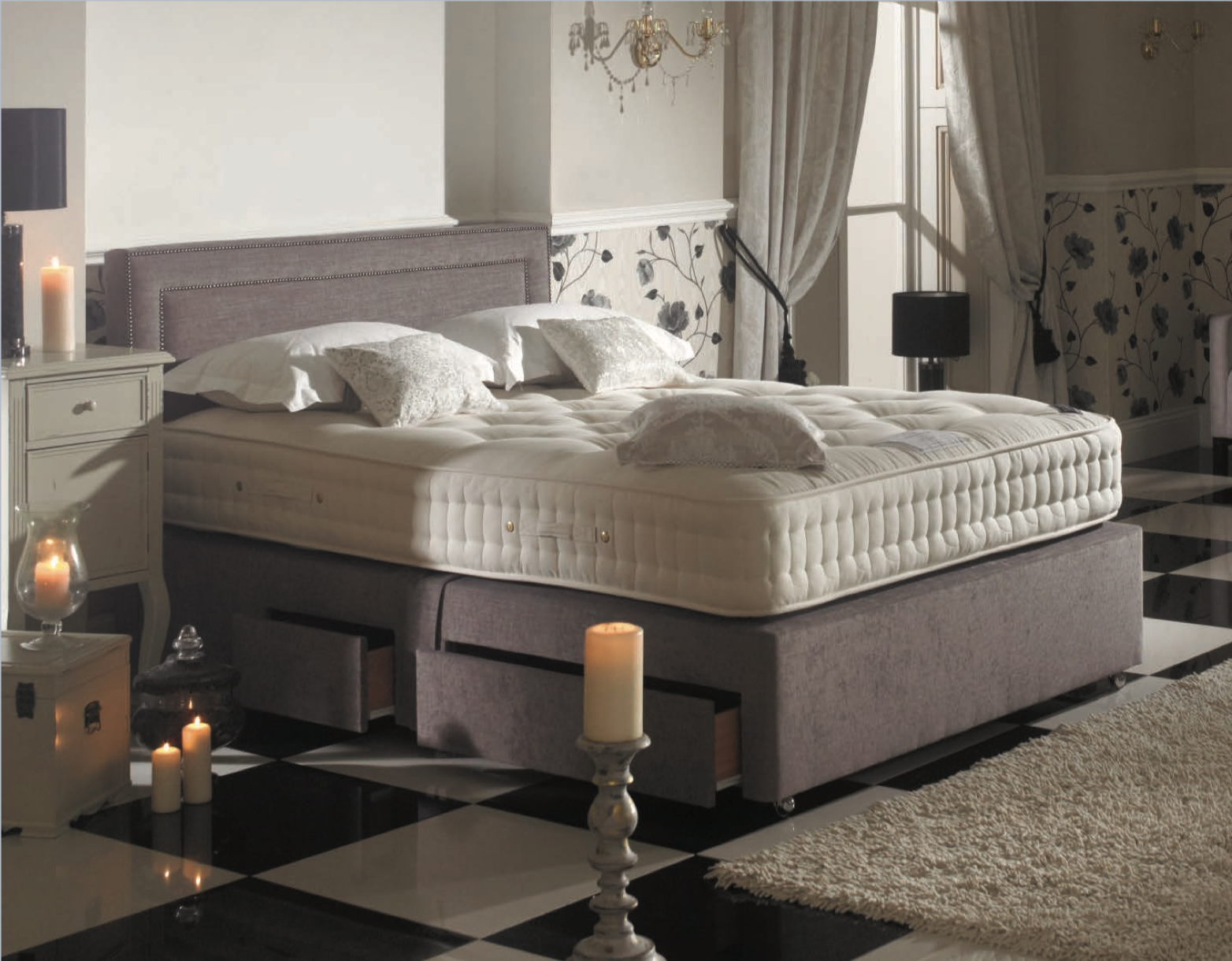 Grey 4 drawer divan base with studded headboard and mattress