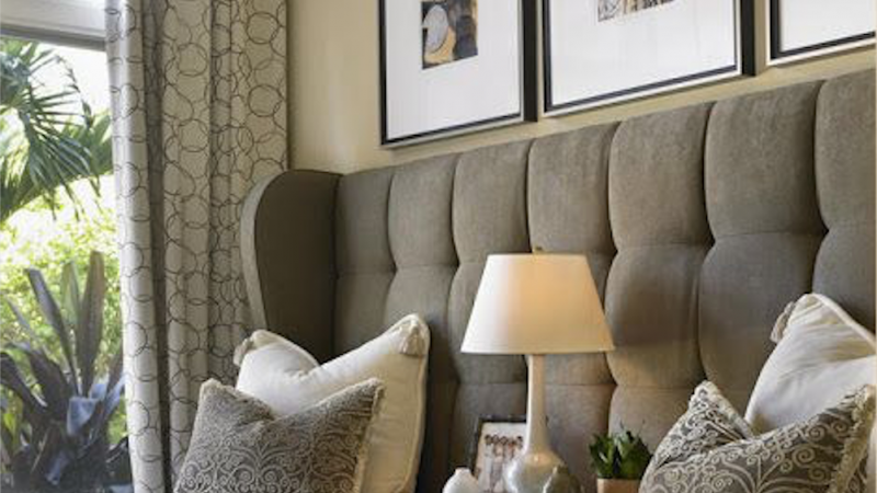 Grey upholstered buttoned headboard