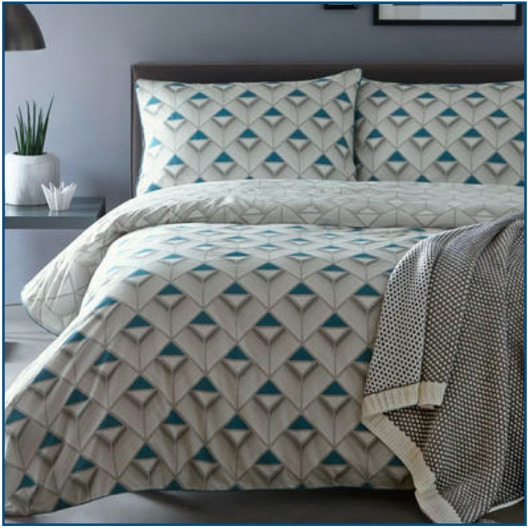 Modern geometric cotton printed duvet set in grey and blue