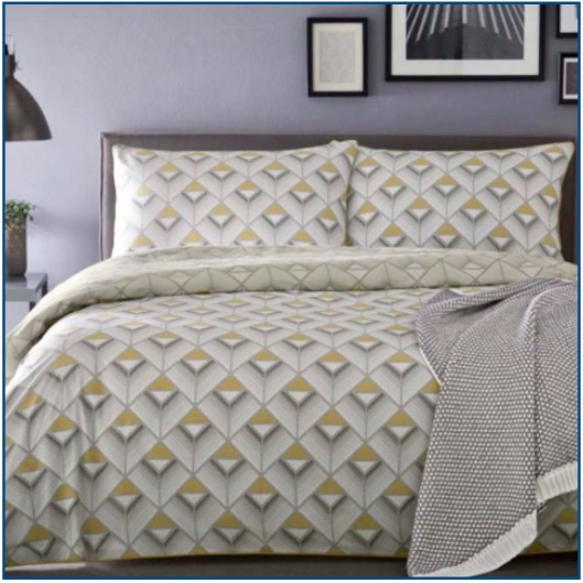 Modern geometric cotton printed duvet set in grey and mustard