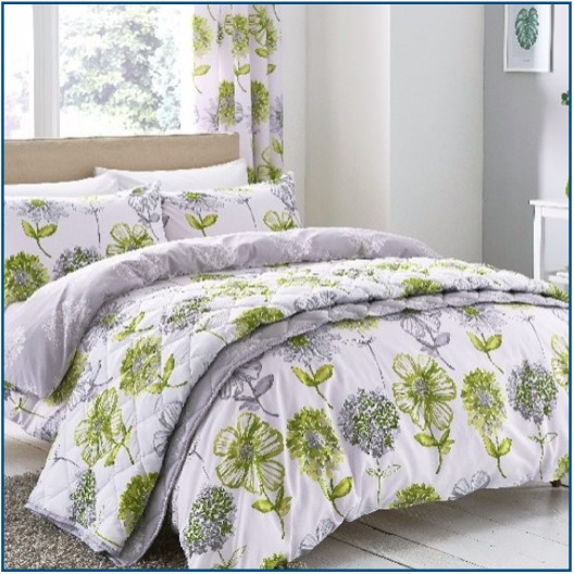 Classic floral print duvet set in green