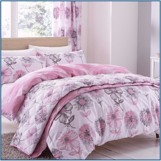 Classic floral print duvet set in pink
