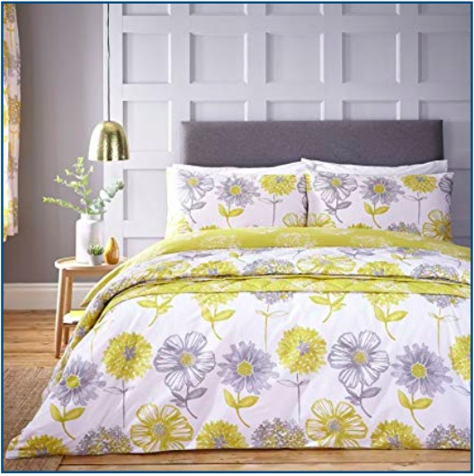 Classic floral print duvet set in yellow