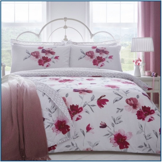 Floral print duvet set in blush pink