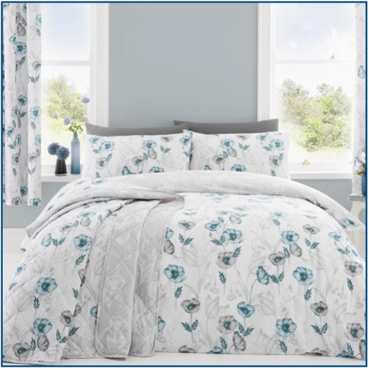White and duck egg blue poppy design duvet set