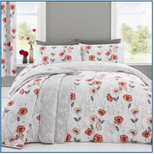 White and red poppy design duvet set