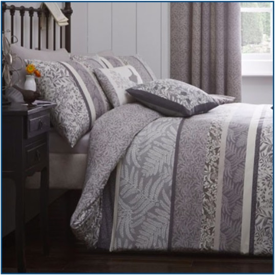 Charcoal duvet set with floral and leaf design