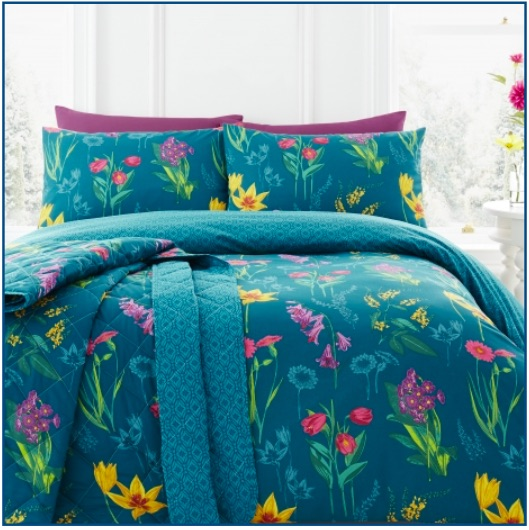 Bright teal duvet set with multi-colour floral design