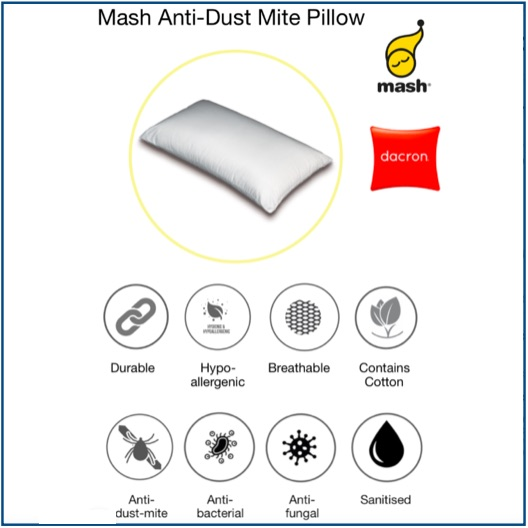 Medium-firm pillow with anti-dust mite, anti-bacterial and anti-fungal treatments