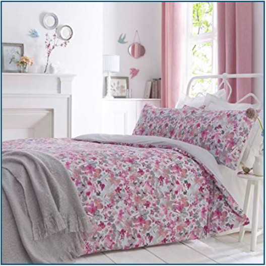 Dainty floral design blush colour duvet set