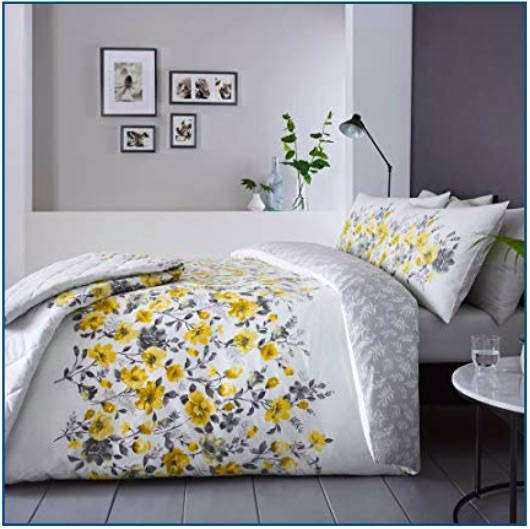Ochre and grey watercolour floral duvet set