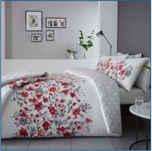 Red and grey watercolour floral duvet set