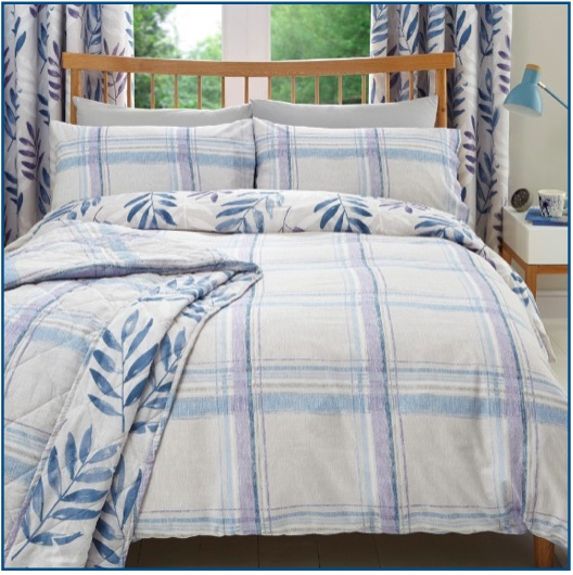Painted checked design duvet set in lilac