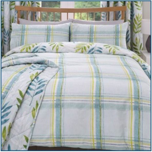 Painted checked design duvet set in teal