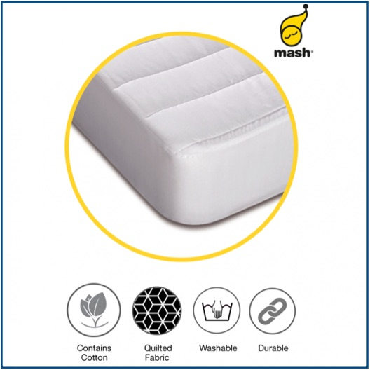 Quilted hollow fibre and cotton mattress protector with deep box