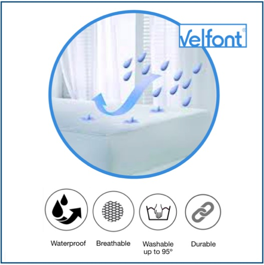 Waterproof and breathable mattress protector made from bamboo fabric.