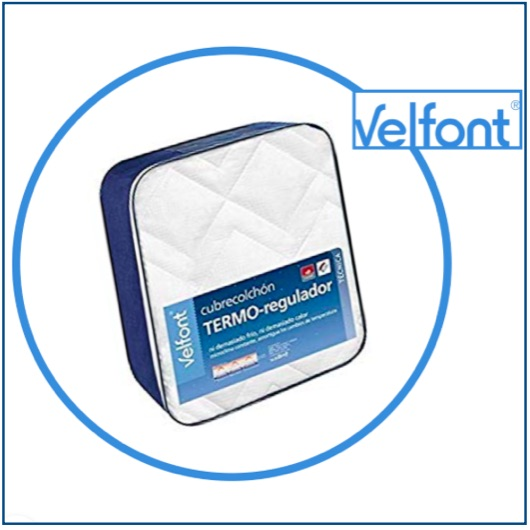 Padded mattress protector in thermo-regulating cotton fabric.
