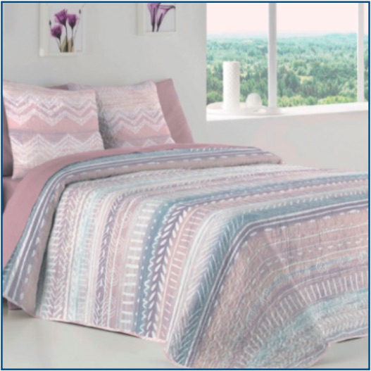 Reversible, modern, mineral-coloured, tribal design bedspread
