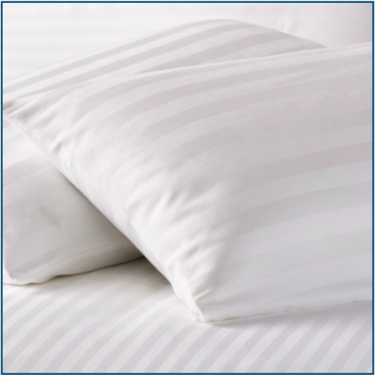 Satin stripe pillow protector in 100% cotton with a zip