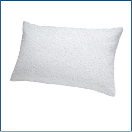 Zipped terry pillow protector in 100% cotton with anti-dust mite protection