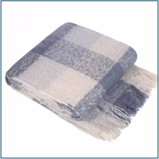 Blue and cream checked throw