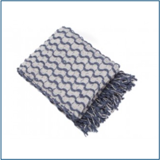 Silver and blue woven throw