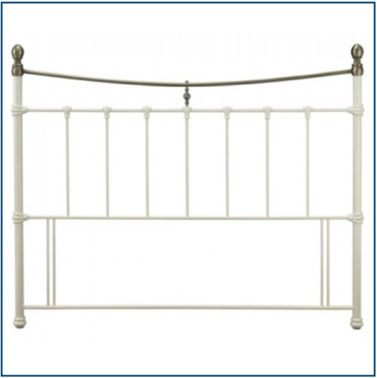 Traditional design ivory metal headboard with brass detailing