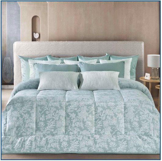 Mid-weight, floral bedspread in duck egg blue