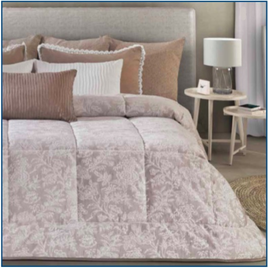 Mid-weight, floral bedspread in taupe