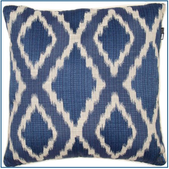 Navy blue and beige diamond patterned cushion cover