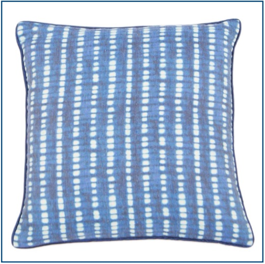 Blue and white striped cushion cover