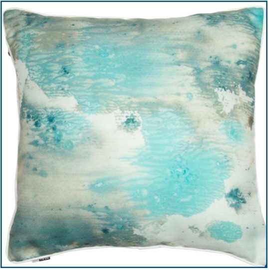 Watercolour cushion cover in stunning greens and aqua shades.