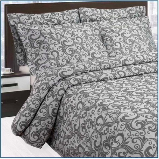 Contemporary, light-weight, charcoal grey scroll design bedspread.