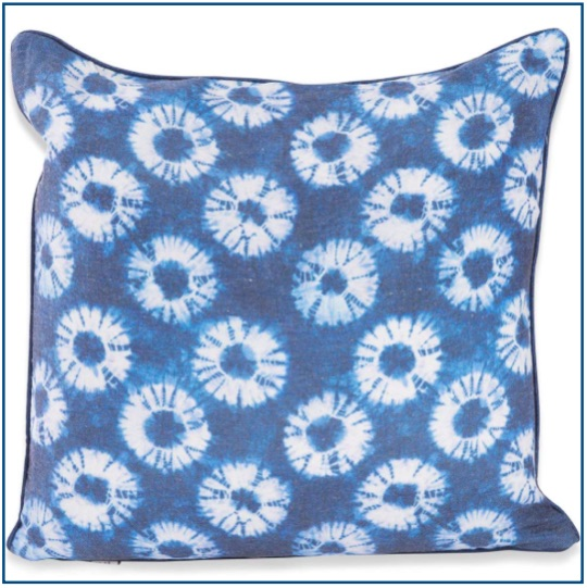 Indigo blue tie dye cushion cover