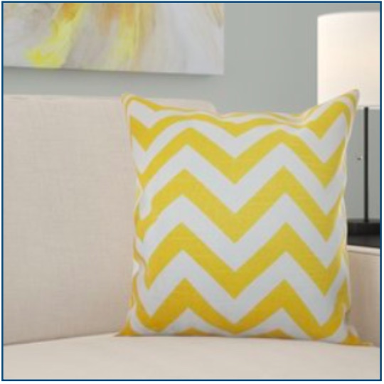 Mustard chevron design cushion cover