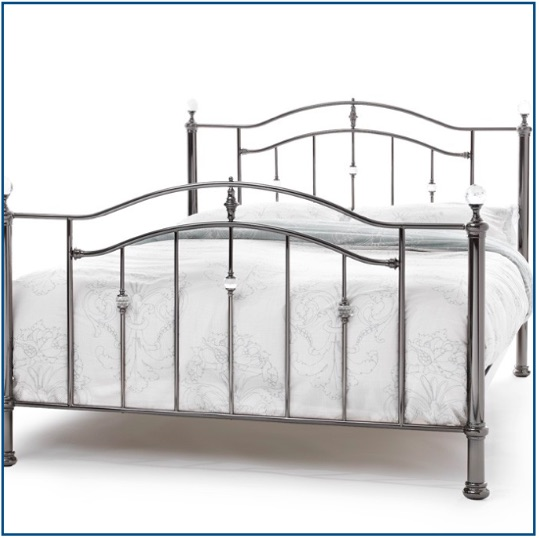 Black nickel curved bedstead with crystal detailing