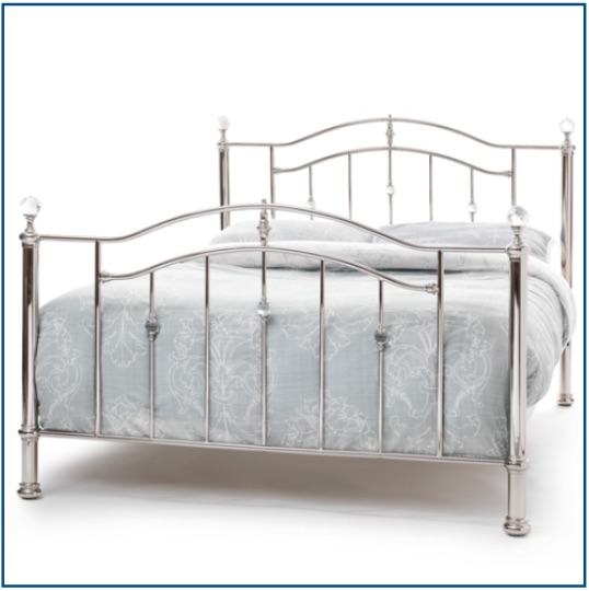 Nickel curved bedstead with crystal detailing