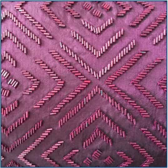 Beaded Cristal Cushion Purple