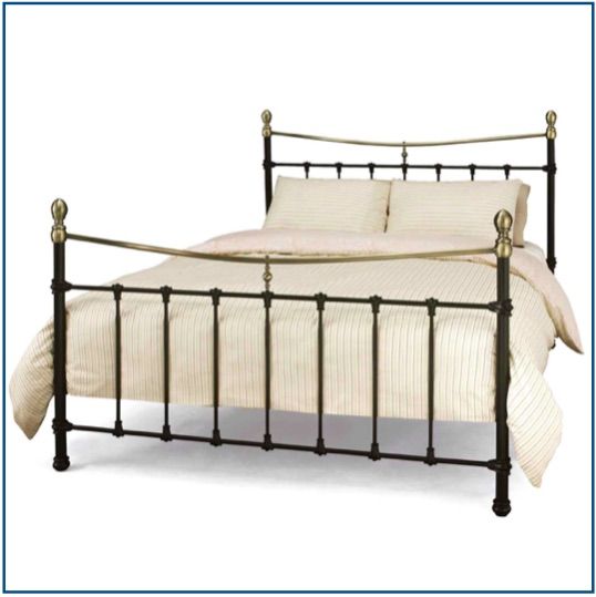 Traditional black bedstead with bronze detailing