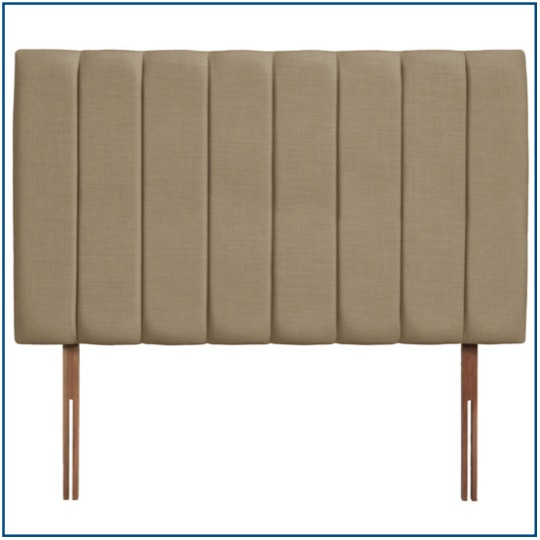 Tall beige upholstered headboard with vertical panels