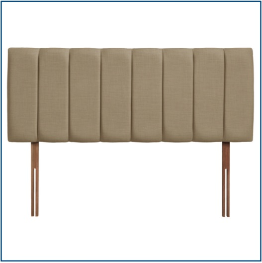 Neutral beige upholstered vertically panelled headboard