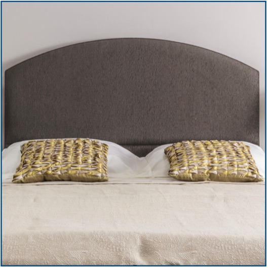 Grey curved strutted headboard with pillow panel