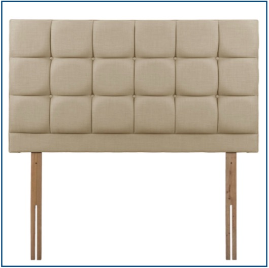 Beige square panelled, strutted upholstered headboard