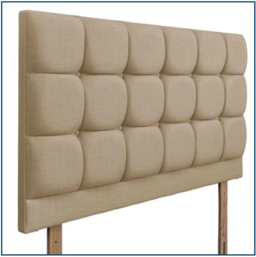 Beige square panelled, strutted upholstered headboard