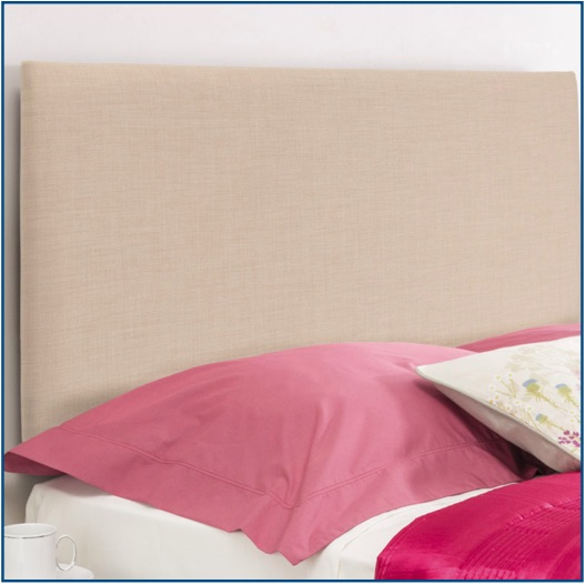 Plain beige upholstered rectangular headboard