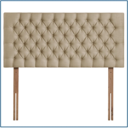 Luxurious beige, buttoned upholstered headboard