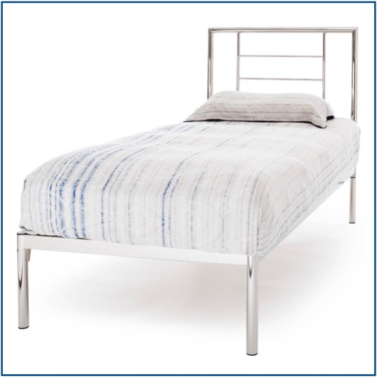 Minimalistic, contemporary design bedstead in Nickel
