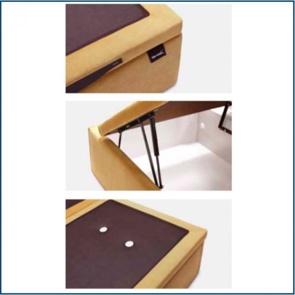 Mustard upholstered lift up ottoman storage base