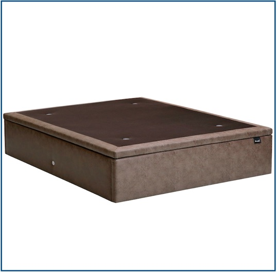 Taupe upholstered lift up ottoman storage base