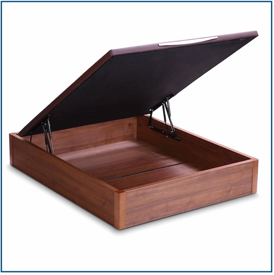 Dark wood lift up storage ottoman base